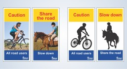 Share the road with cyclists and horses