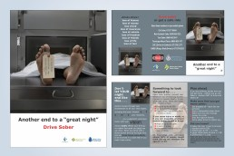 Toe tag drink drive awareness campaign